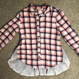 Anthro flannel/embroidered gauze shirt